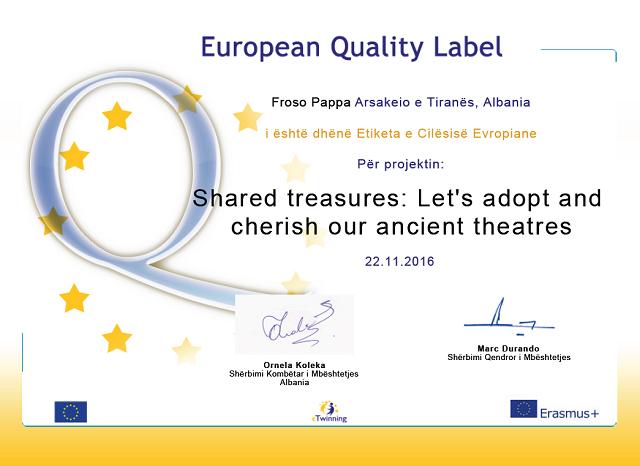 Ευρωπαϊκή Ετικέτα Ποιότητας- Etiketa e Cilësisë Evropiane për programin europian eTwinning «Adopto një teatër të lashtë»