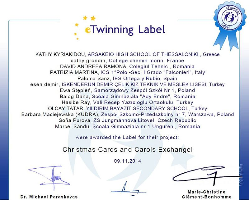 """E-Twinning Project """"Christmas Cards and Carols Exchange"""""""
